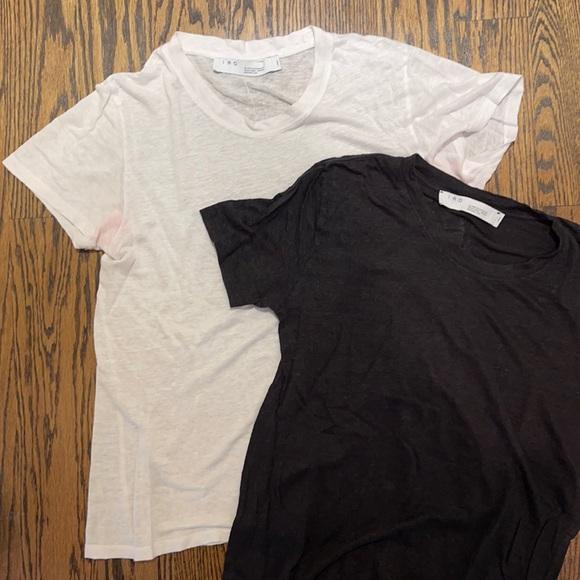 LUCIANA CREW NECK LINEN T SHIRTS BLACK & WHITE L